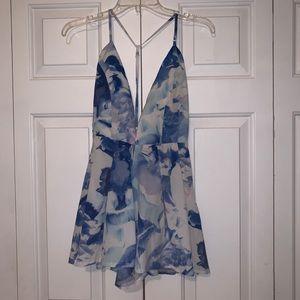 Pants - Blue floral romper
